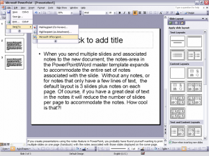 Printing handouts with notes in MS Word 2003