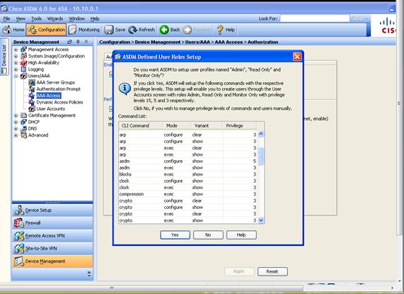 Using ASDM with Minimum User Privileges